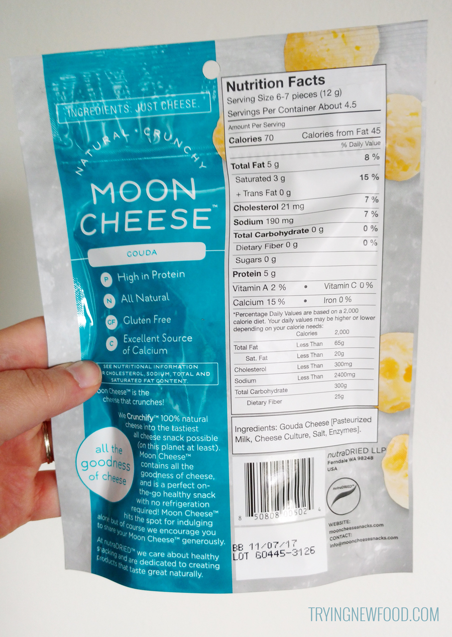 Gouda Moon Cheese back packaging