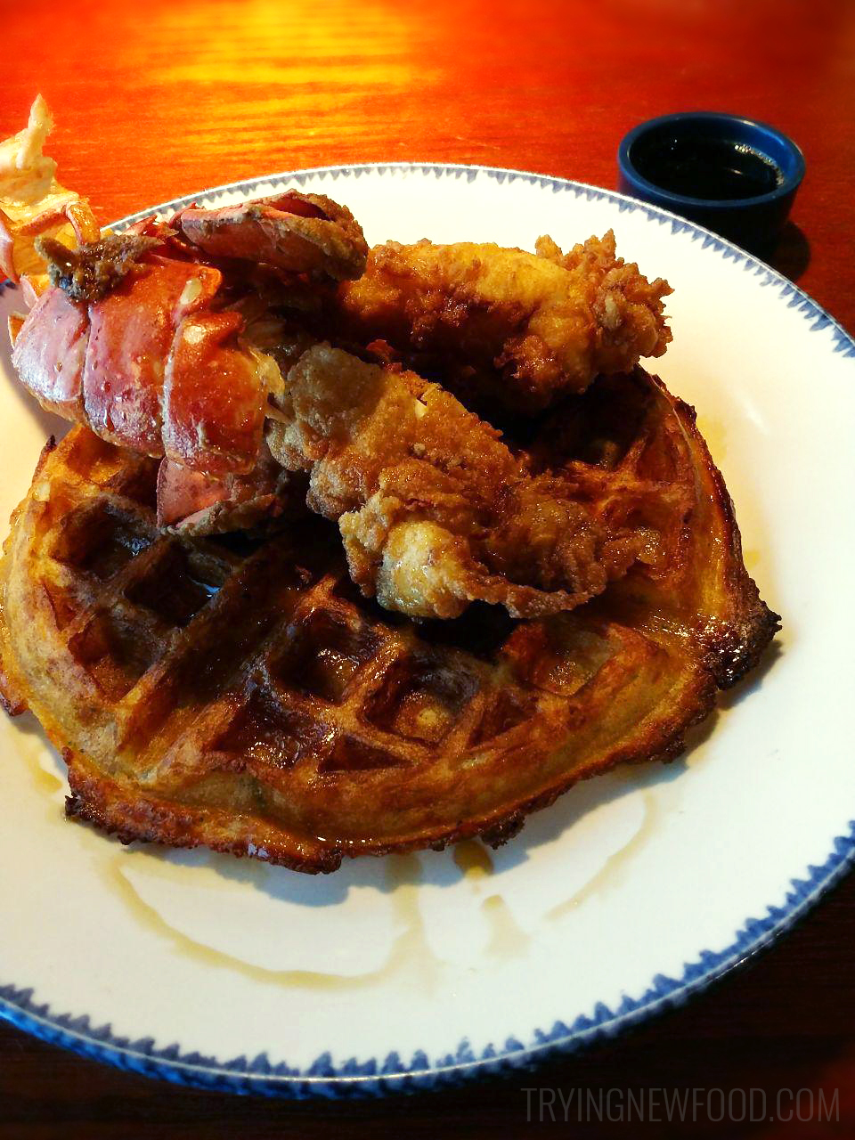 Red Lobster Lobster and Waffles with Lobster Truffle Mac and Cheese